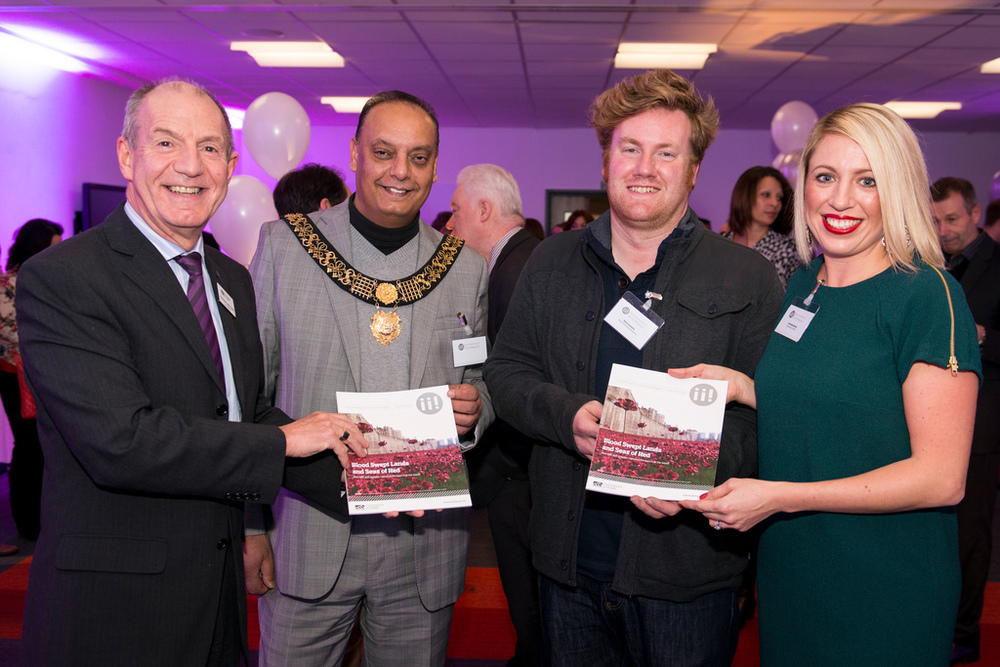From left to right: Professor John Coyne, Mayor of Derby Cllr Shiraz Khan, Paul Cummins and Editor Rosie Marshalsay.