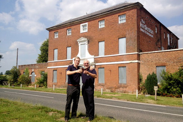 Owner of Derby Brewing Company, Paul Harris (left) and his father, Trevor, at the Kedleston Country House Hotel.