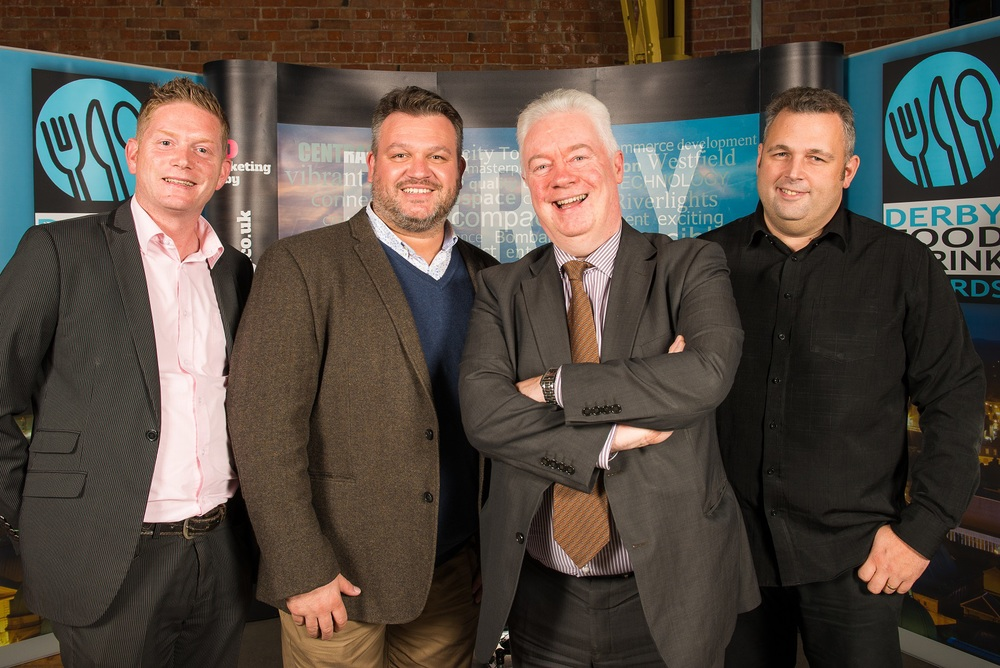 From left to right: Benjamin Benn (Commercial Director at Silver Pride Software), Craig Tice (Director at Silver Pride Software), John Forkin (Managing Director at Marketing Derby), and Graham Till (Director at Silver Pride Software).