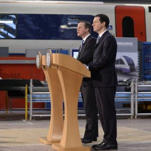 Prime Minister David Cameron and Chancellor George Osbourne delivering the news last week at Bombardier.