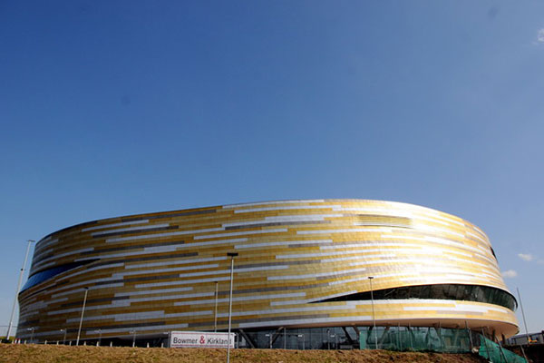 Derby's newest landmark, the £30.8 million sporting venue, Derby Arena.
