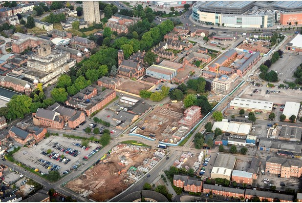 The Castleward site located between intu Derby and the train station.
