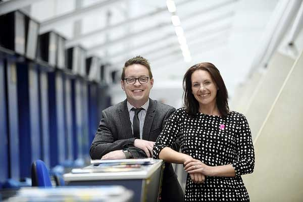 From left to right: Howard Ebison, Head of Customer Service at East Midlands Airport and Lindsey Hatfield, Commercial Development Manager at Marketing Derby.