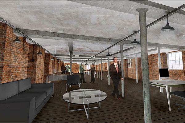 An artist's impression of the Long Mill third floor offices at Darley Abbey Mills