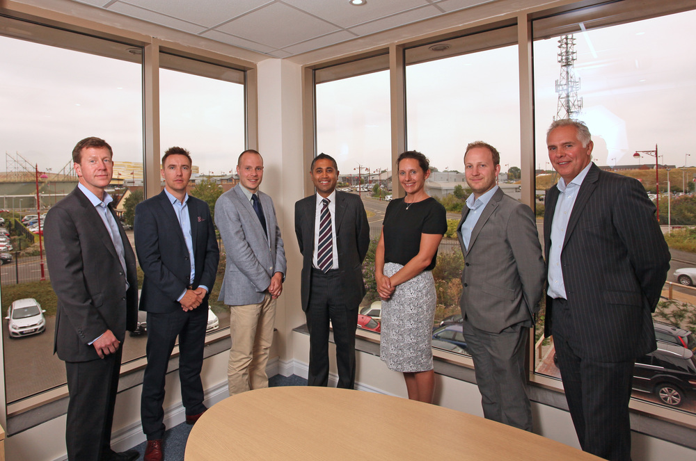 Left to right: Andrew Pilkington, managing partner, Alan Mercer, business development director, Chris Wright, Commercial Property Surveyor at BB&J Commercial, Ranjit Banwait, Leader at Derby City Council, Lindsey Hatfield, Commercial Development Manager at Marketing Derby, Jimmy Drew, Inward Investment Executive at Marketing Derby, and Karl Bamford, partner.