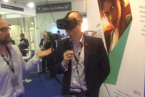 Jef Todd from Bondholder BSP Consulting tries out the virtual reality experience at MIPIM UK