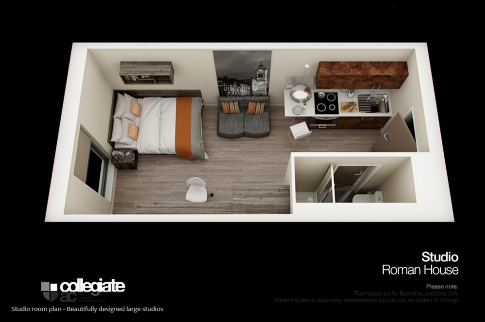 A floorplan for one of Roman House's studio apartments.