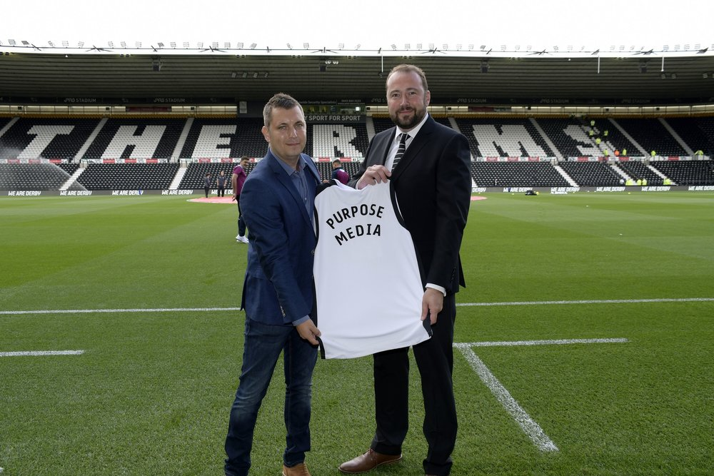 Purpose Media's Matt Wheatcroft pictured with Head of Ticketing, Analytics and Data at Derby County, Brandon Furse.