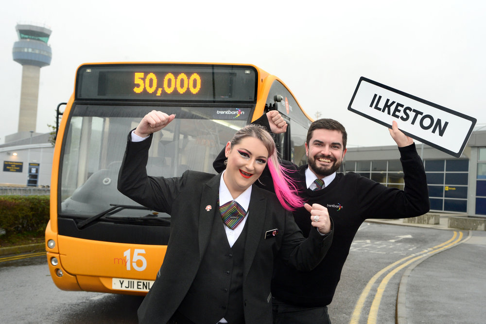 trentbarton : Drivers Leeann Shearer and Jonno Beecham celebrate the success of my15 since it's route extension to EMA.
