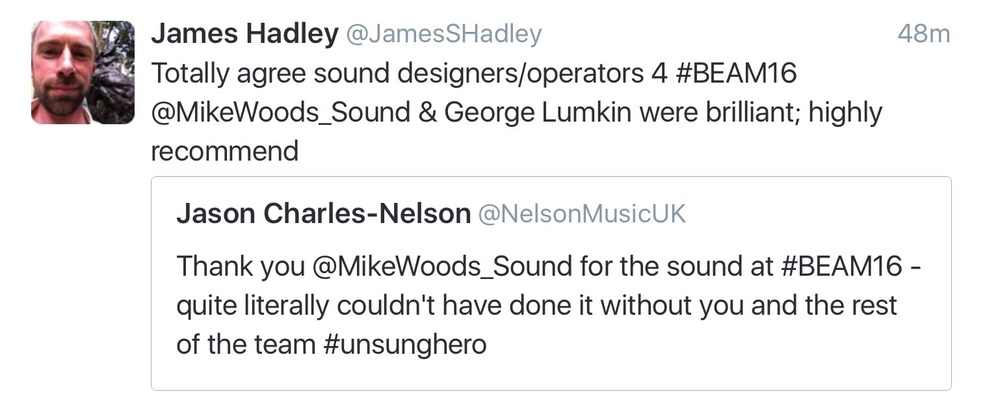 Twitter comments from the Executive Director of the Musical Theatre Network and one of the presenting creatives.