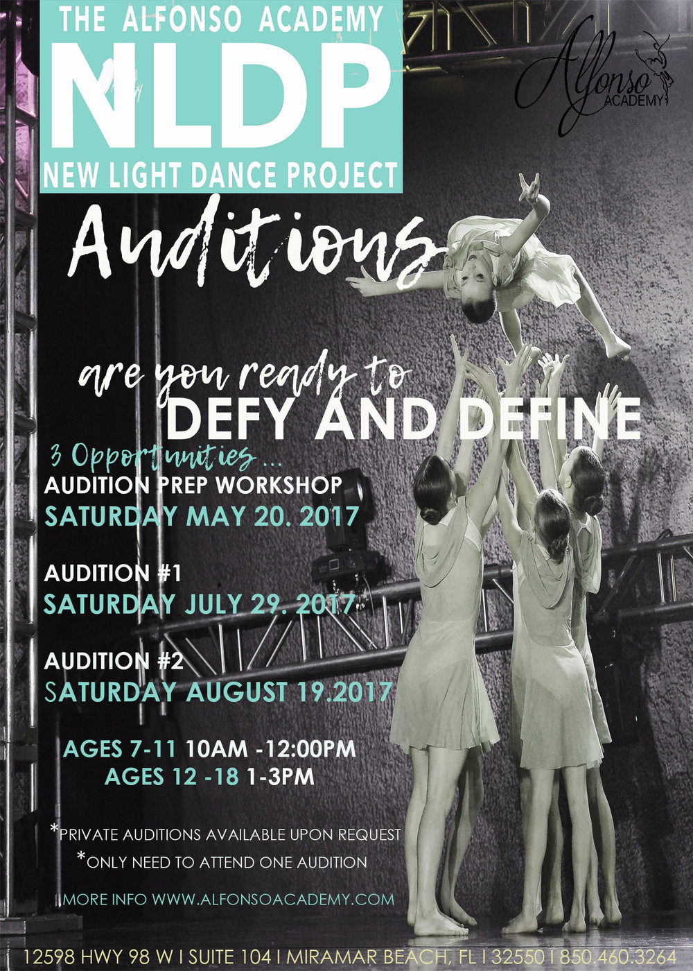$25 Audition Fee. Please arrive at least 15 minutes early to fill out appropriate paperwork.  Girls :  Black Leotard, Pink Tights, Hair in a Bun. Bring water, ballet shoes, and any other preferred dance shoes.  Boys: White Shirt, Black shorts, leggings, or pants. Bring water, ballet shoes, and any other preferred dance shoes.