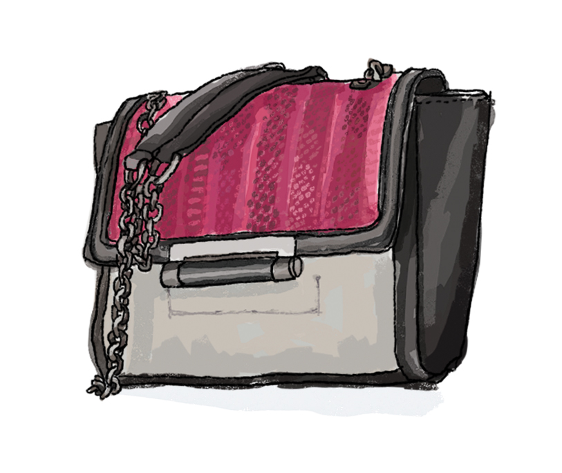Diane Von Furstenberg Mini 440 Leather and Snakeskin Crossbody Bag