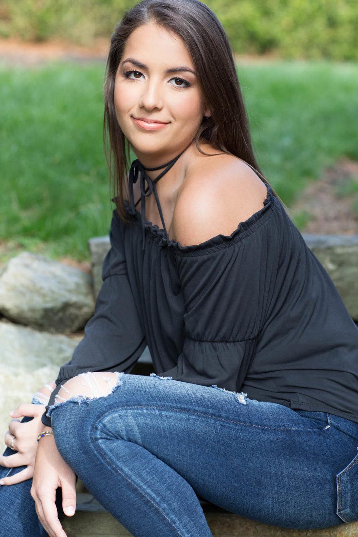 High School girl in black top for portrait