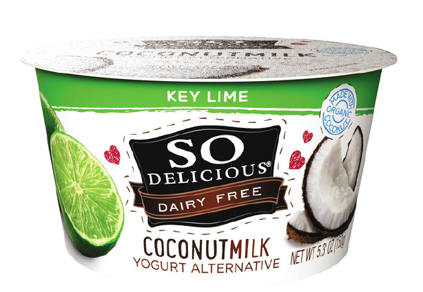 So Delicious coconut yogurts come in new fruit flavors such as peach and key lime, which the company says combine well with coconut. PHOTO: WHITEWAVE
