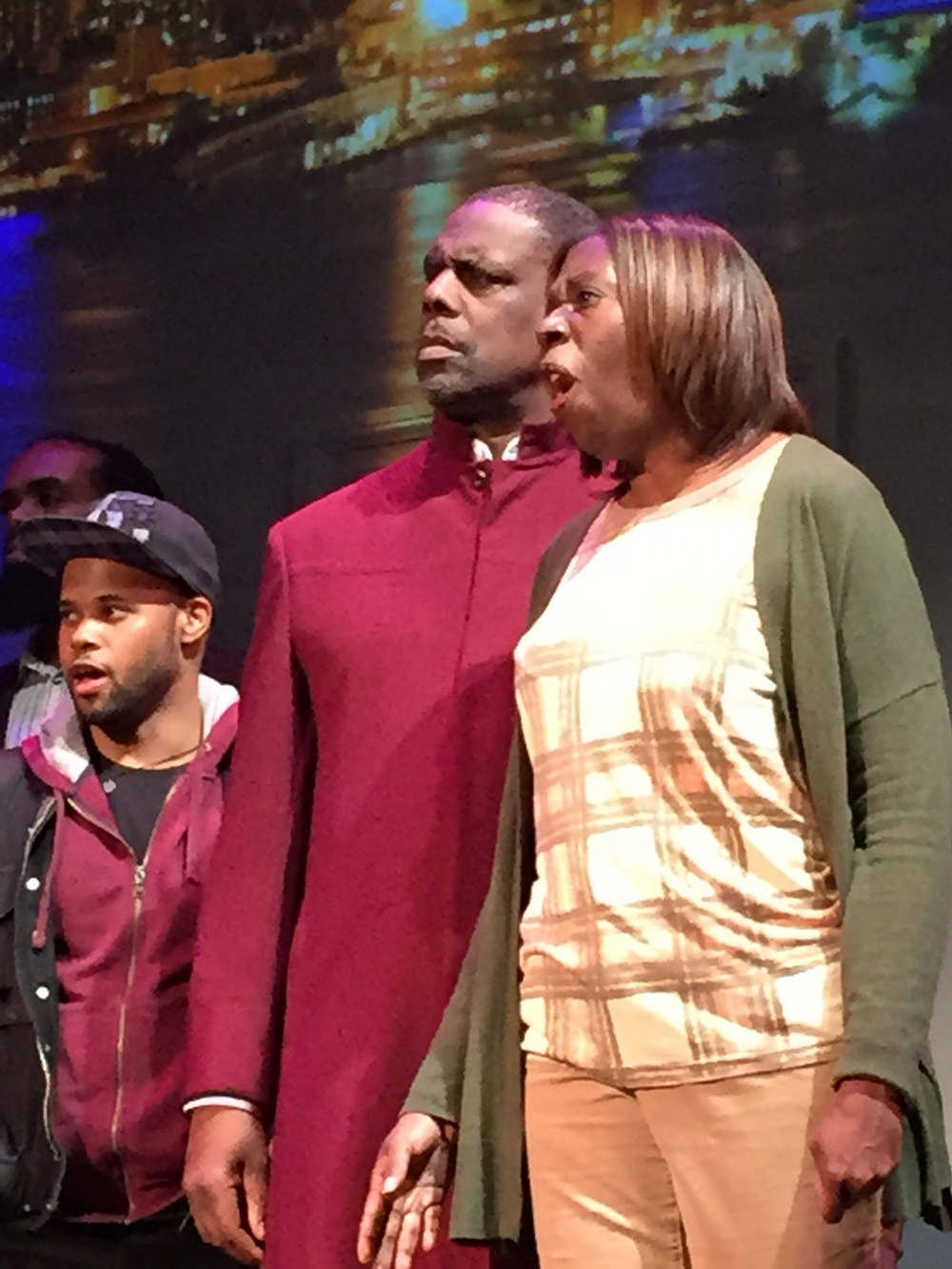 """Shame, Sherman, shame!""   Samuel McDonald as Marcus; Kevin Maynor as the Reverend Bacon; Adrienne Alexander as Mrs. Lamb"