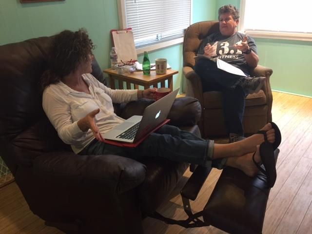 Dr. Sue Russell and I working on our book about Sisterhood and Brotherhood last week