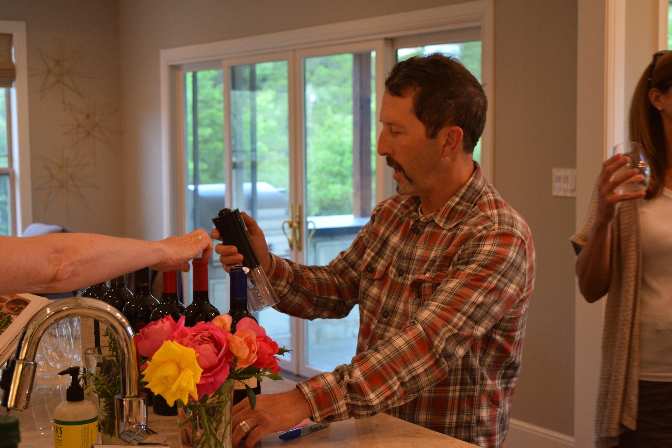 Pete wine tasting