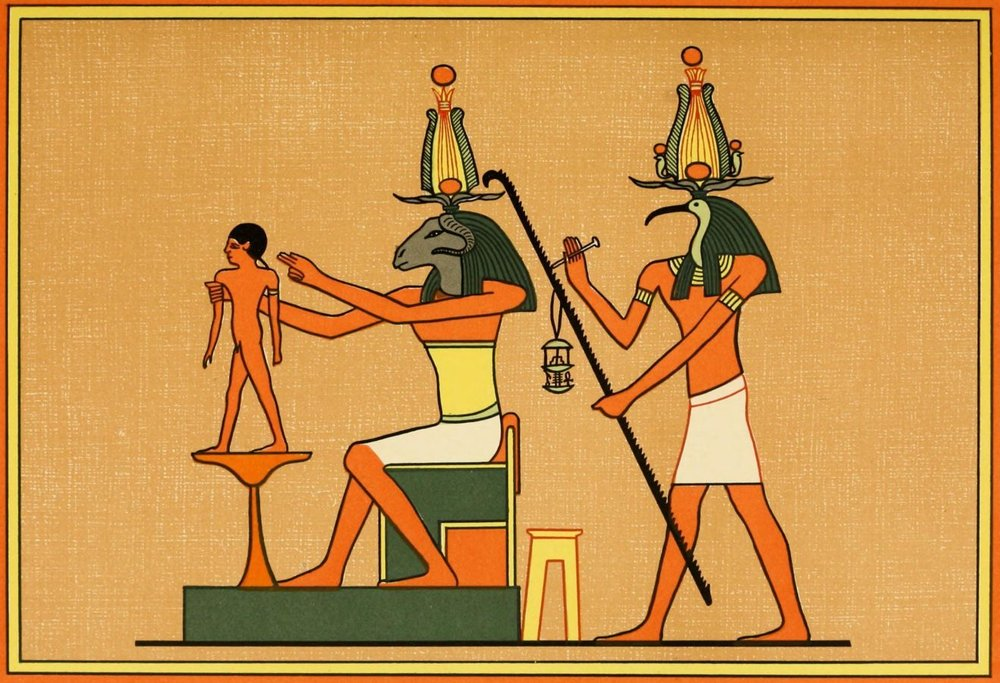 Khnemu Shapes Pharoah's Son on a Potter's Wheel While Thoth Marks Life Span  (papyrus, Ptolemaic, Egypt, c. third-century BC)