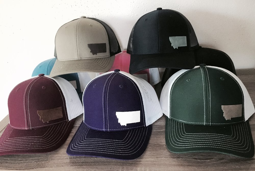 Leather MT Decal hats! I can make any state, WA, OR, AL, you name it!