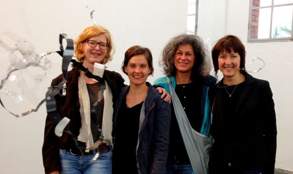 Katja v. Ruville, Merja Herzog-Hellstén, Claudia Grom and Kelly O'Brien at the AEHETTRA Vernissage.