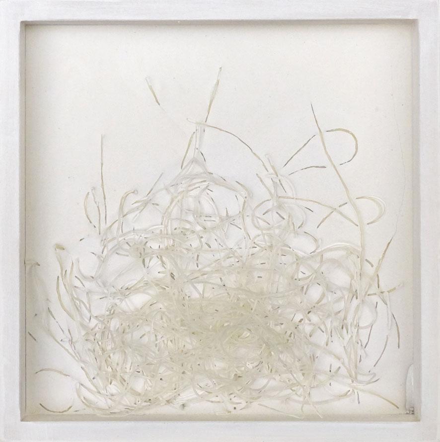 Quadratserie_02   2014  20 cm × 20 cm  Gips, Reisnudeln, Holz | plaster, rice noodles, wood  250,– €
