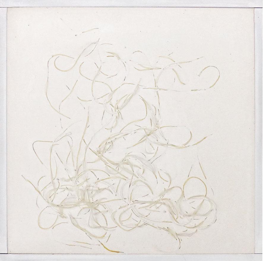 Quadratserie_07   2014  30 cm × 30 cm  Gips, Reisnudeln, Holz | plaster, rice noodles, wood  verkauft | sold