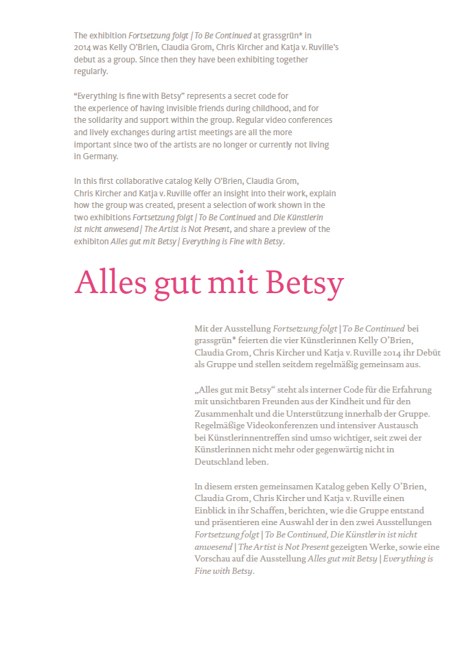 Everything is Fine with Betsy | Alles gut mit Betsy catalog, back cover