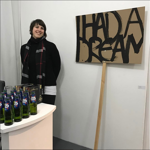 Awesome intern Nina with Kate McDonnel's  I Had a Dream