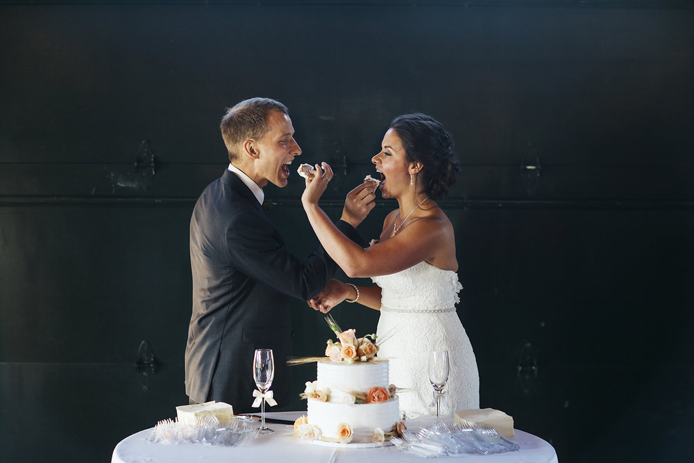 Bride Groom Eat Cake