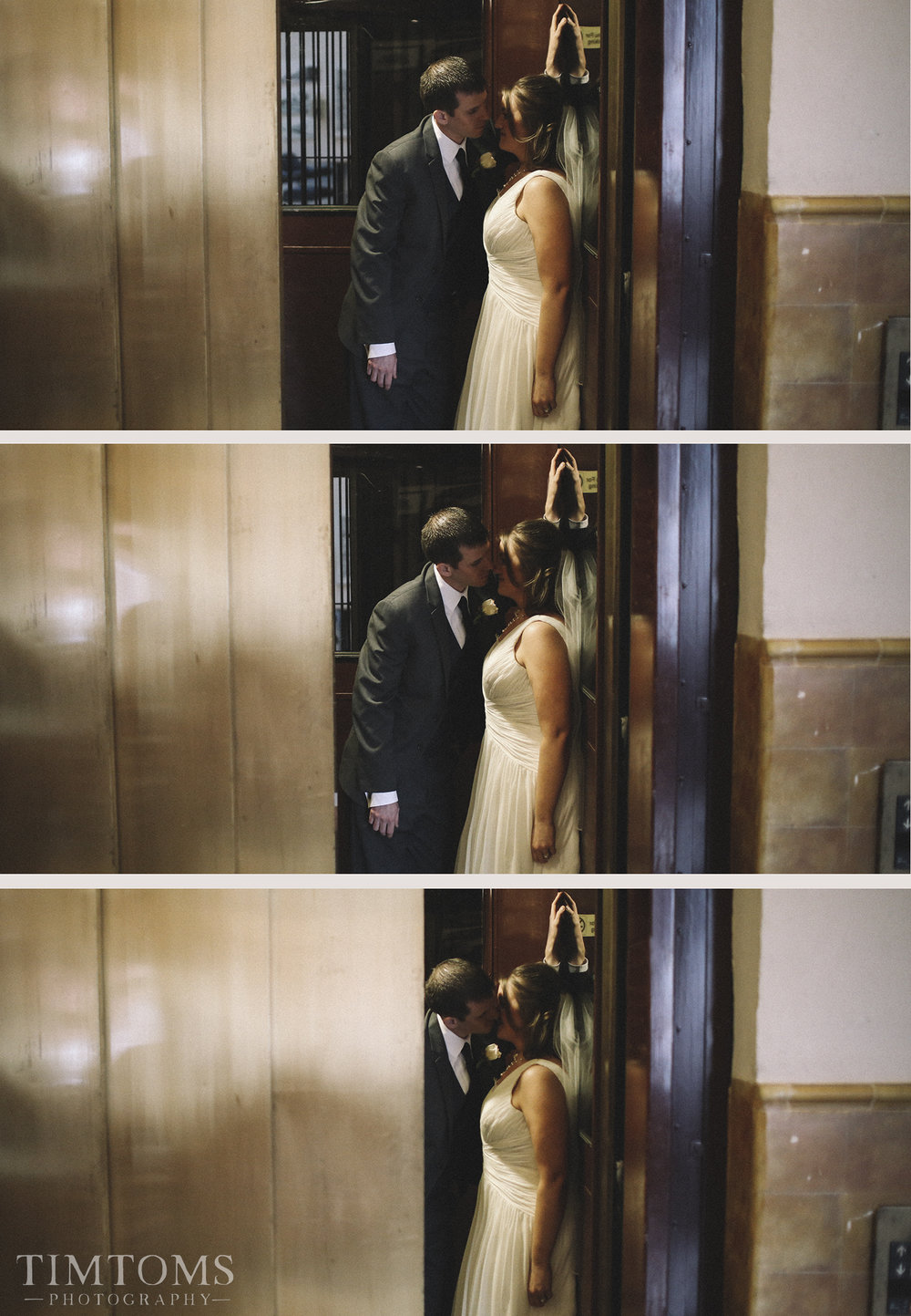 Bride and Groom in the Elevator Old hotel wedding