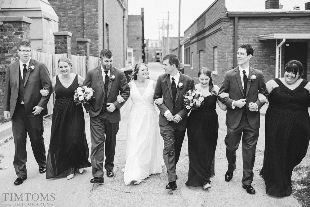 Bridal Party Walking Downtown Independence Kansas