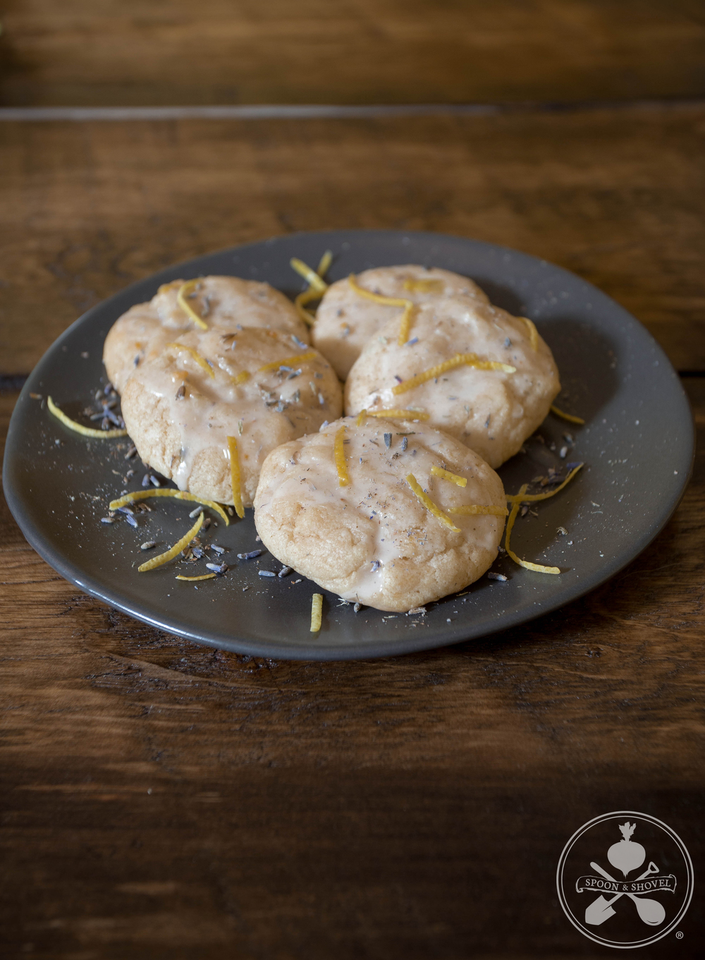 Bitters-infused vegan lavender lemon glazed cookies from The Spoon + Shovel