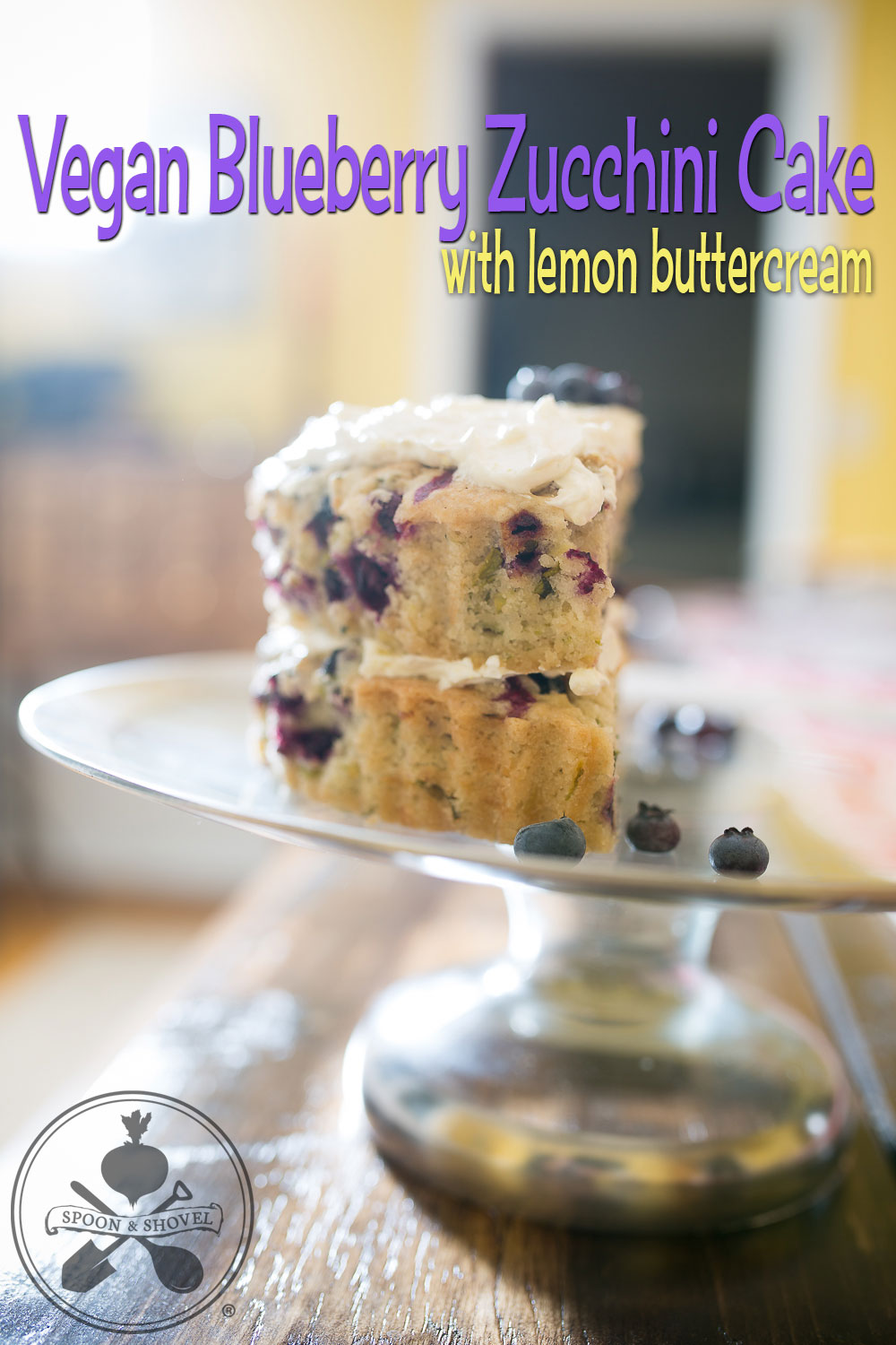 Vegan blueberry zucchini layer cake with lemon buttercream from The Spoon + Shovel