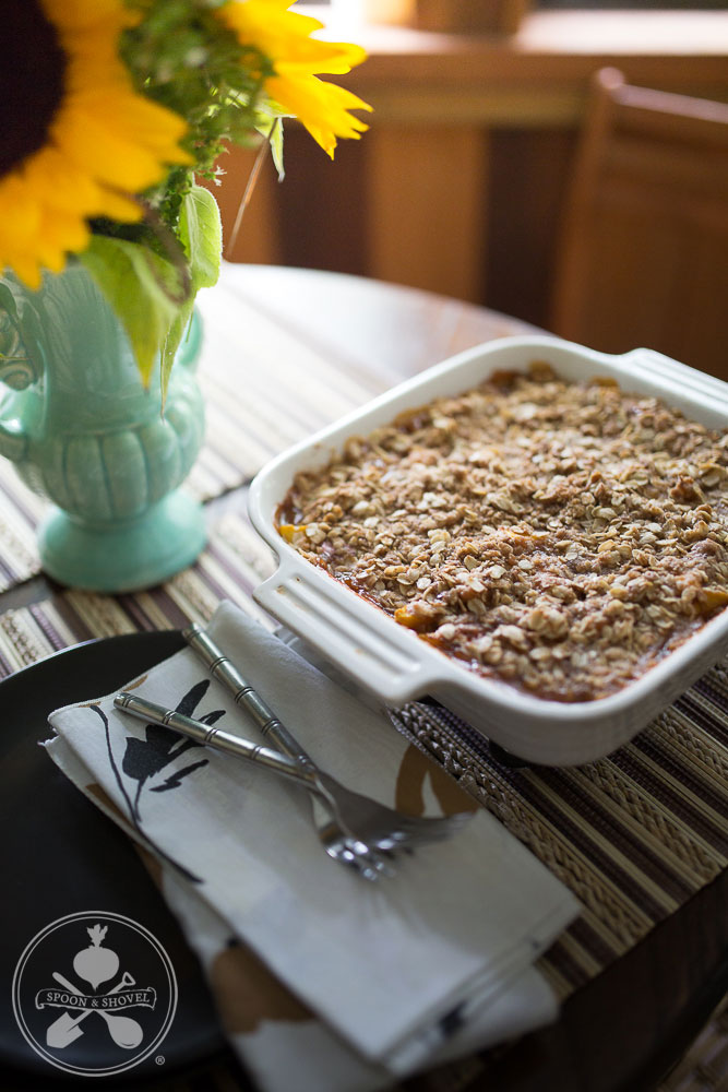 Vegan fresh peach crisp from The Spoon + Shovel