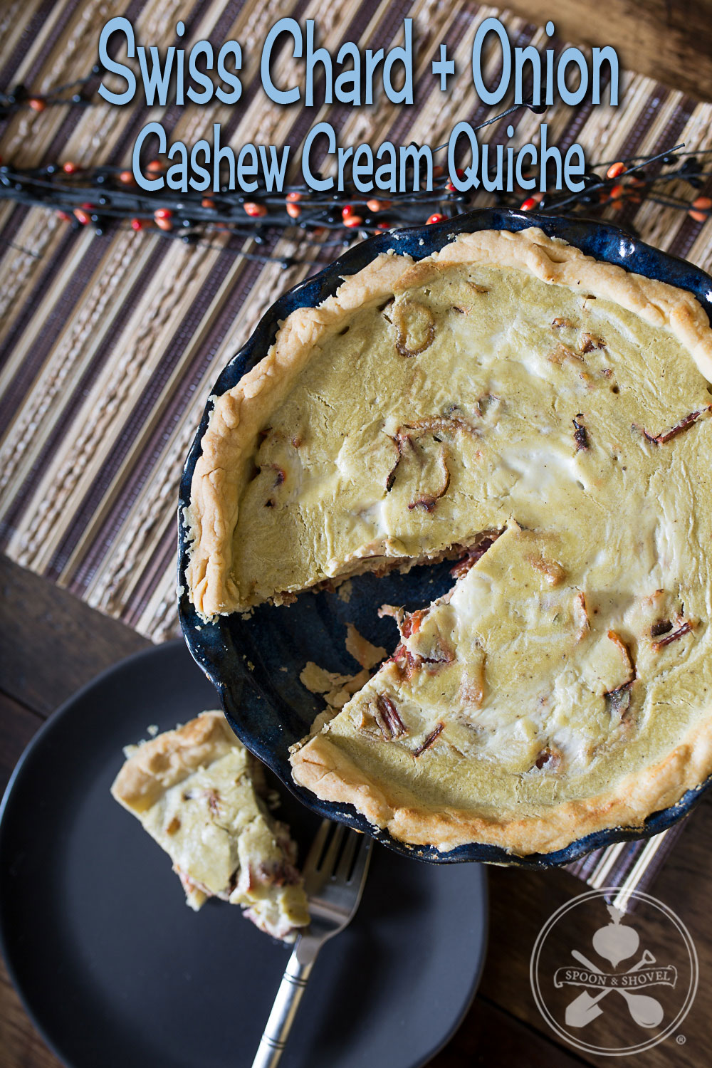 Swiss chard, onion and cashew cream quiche from The Spoon + Shovel