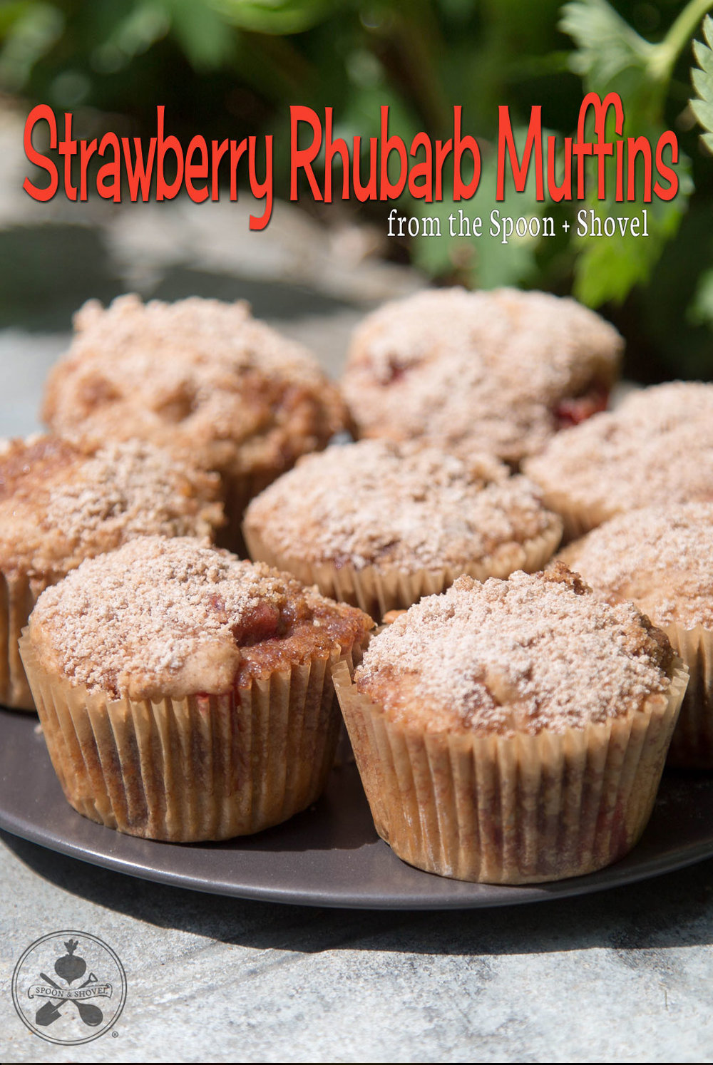 Vegan Strawberry Rhubarb Crumble Muffins from The Spoon + Shovel