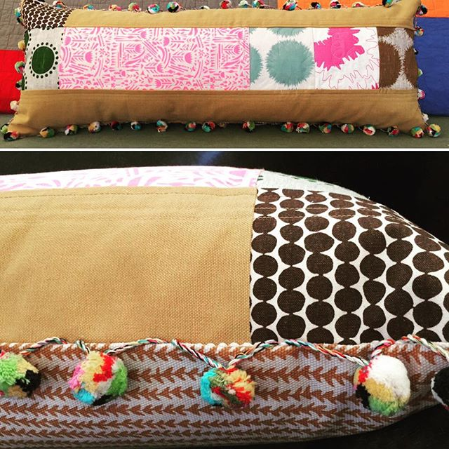 New custom pillow from Red Llama Studio featuring textiles from @studiobontextiles among others and pom pom fringe from India.