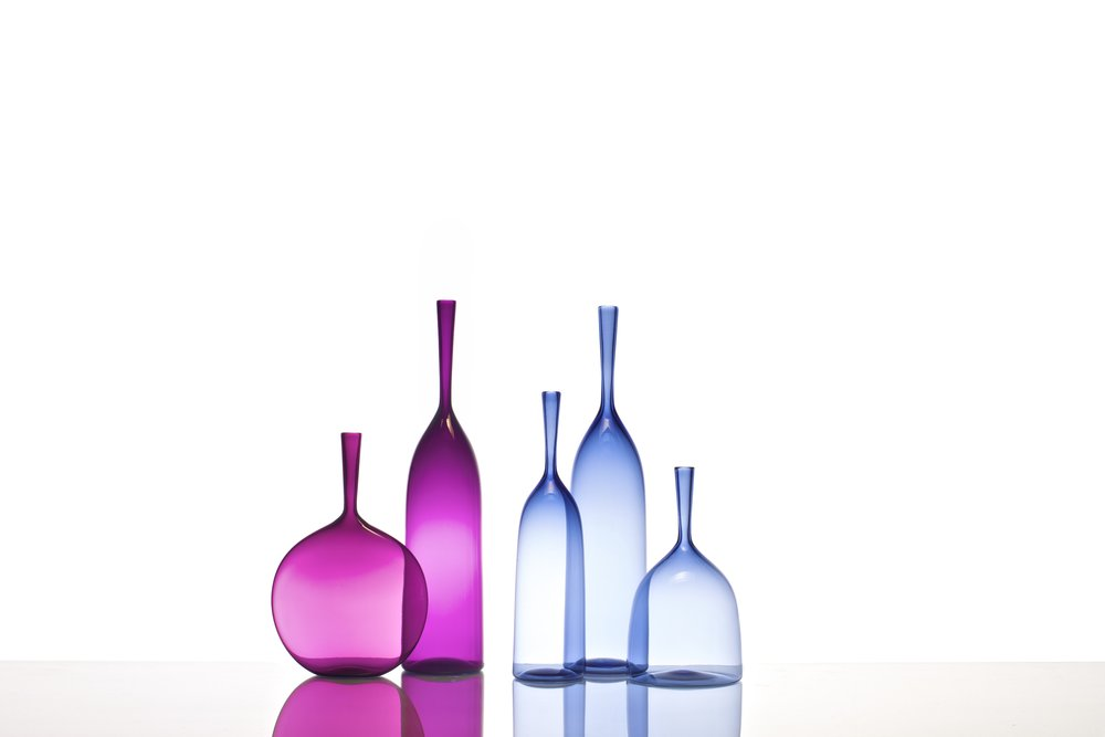 ANGELIC BOTTLE GROUPING: FLASK & LARGE IN ULTRAVIOLET, SMALL, LARGE AND WIDE IN ICE BLUE