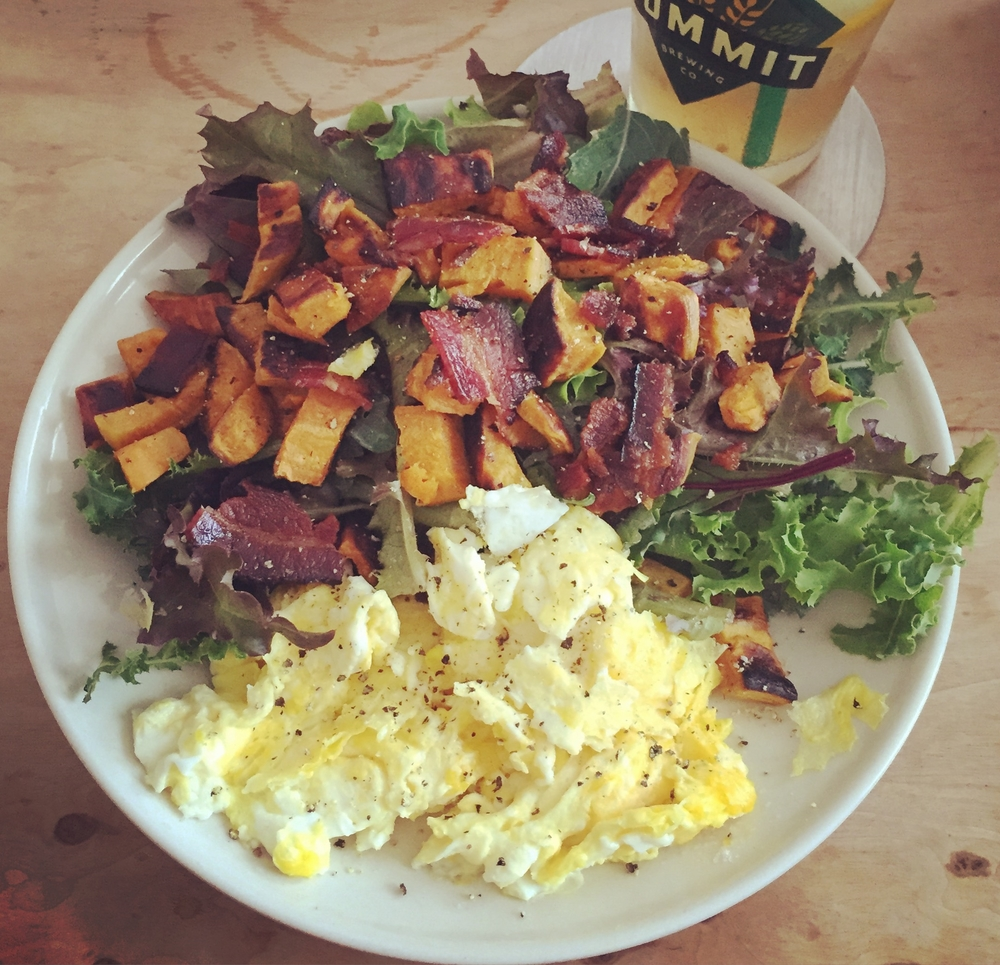 See this? This is a delightful creation that's totally Paleo-friendly: Scrambled eggs, and mixed greens topped with roasted sweet potato and bacon. It's one of my favorite Sunday brunch meals. Drooling yet?