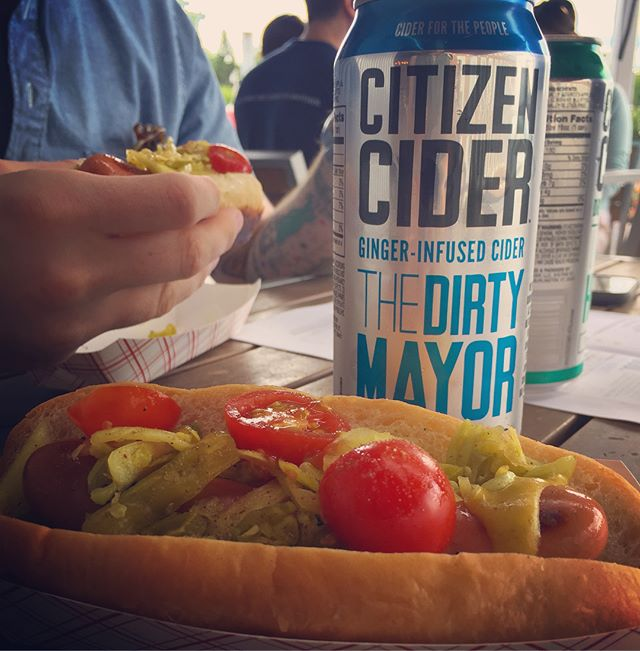 Cider and hot dog time for Evan's birthday 🌭 🍎