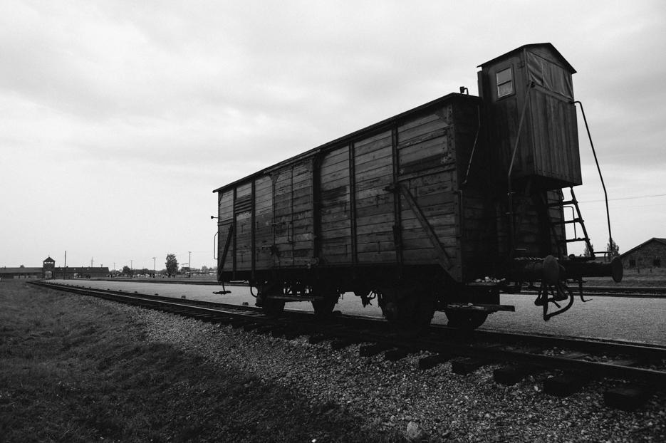 Train car along the sorting platform at Auschwitz II - Birkenau