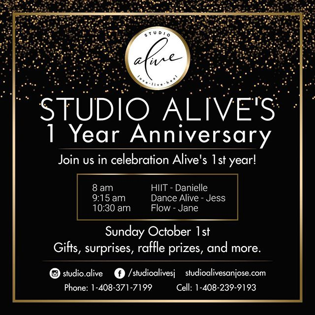 You're Invited! Join me in celebrating 1 year at Alive! For those of you that don't know I am a fitness instructor and I have my own fitness studio. And I can not believe it has already been 1 year. God is so good. Come celebrate a year of love. live. heal this Sunday, Oct 1st, free for all and all are welcome. Gifts, surprises and 3 amazing fitness classes to show my love and appreciation. Let's sweat! Let's heal! Let's dance! And let's celebrate!