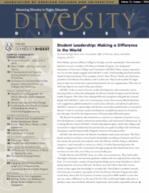 Written in conjunction with the Bonner Foundation's work on a model for civic engagement minors, certificates, and academic programs, the Winter 2006 issue of AAC&U's Diversity Digest featured articles from staff, faculty, leaders, and students across the network.