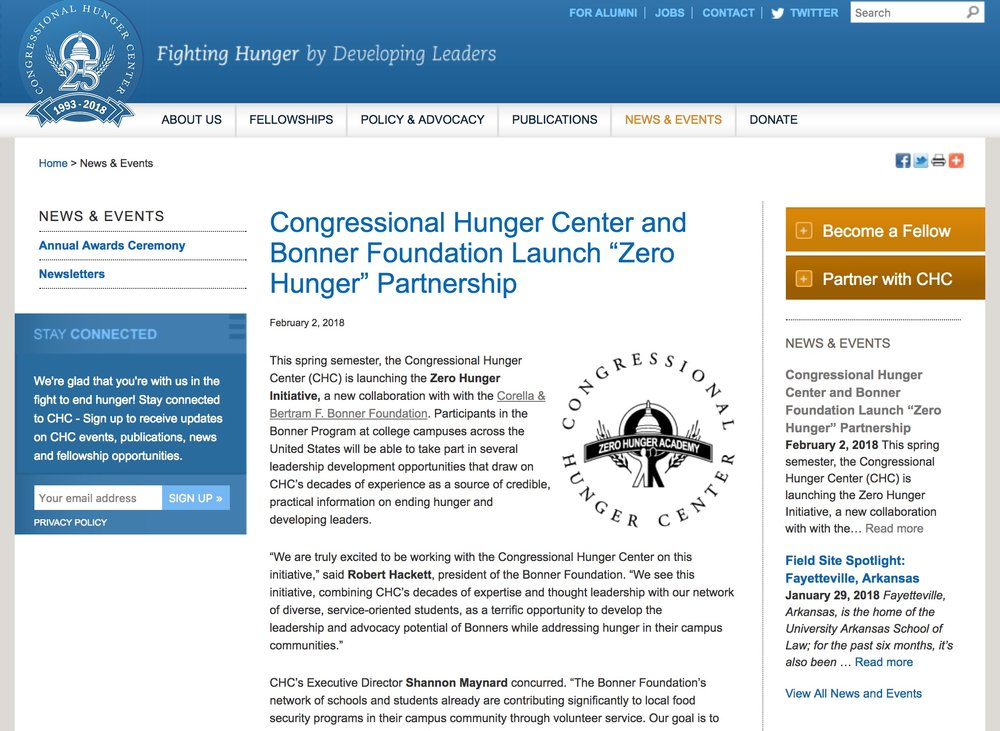 Click here to read  article on the Zero Hunger Initiative in the Congressional Hunger Center's website .