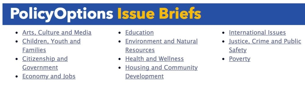 Index of issue brief topic areas. Click to search.