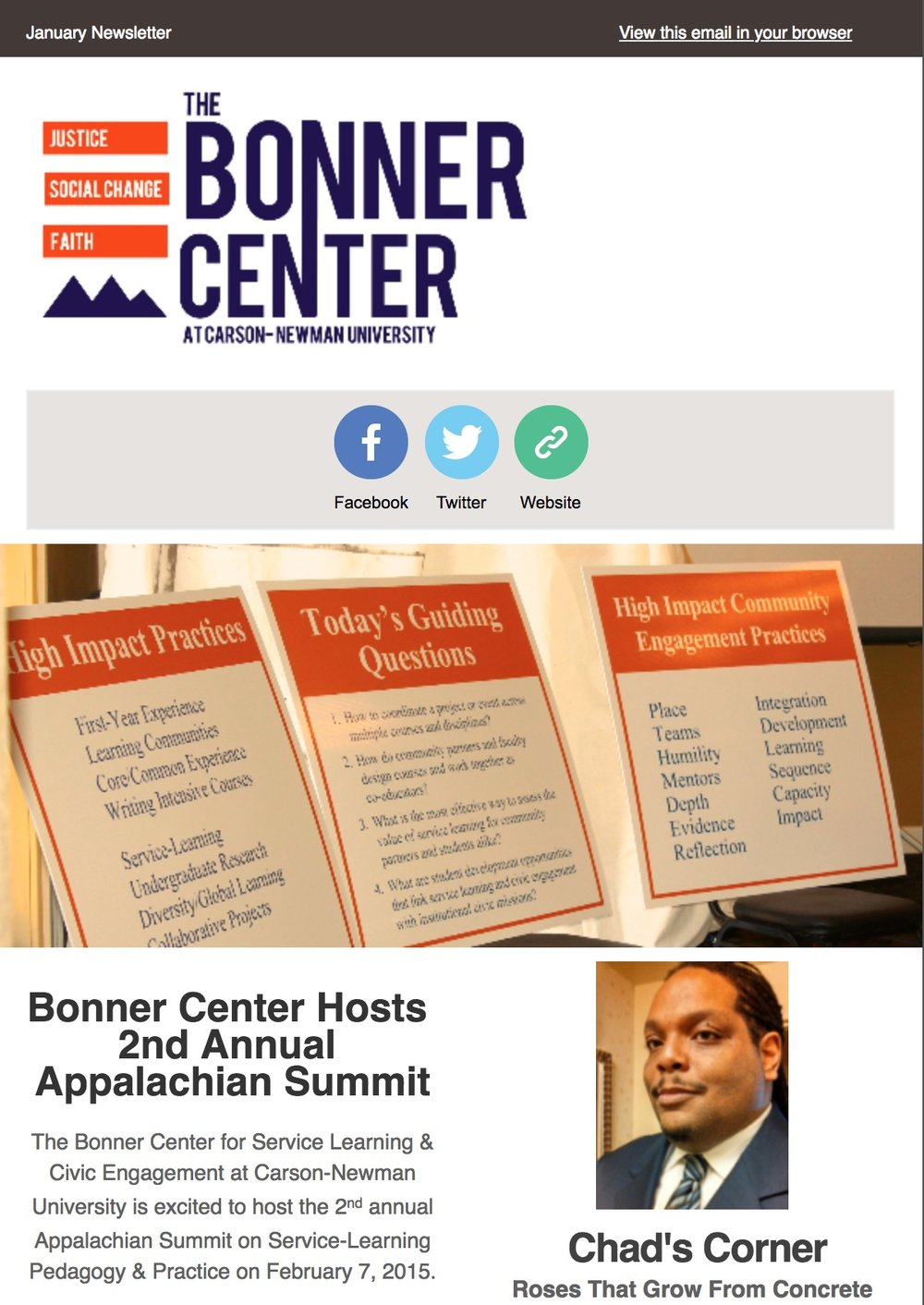 Electronic newsletter from Bonner Center for Service Learning & Civic Engagement at Carson-Newman University.   Click  to view.