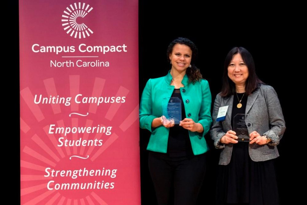 The 2018 Civic Engagement Professionals of the Year: Tamara Johnson (left) of UNC Charlotte and Charlotte Williams (right) of Lenoir-Rhyne University.