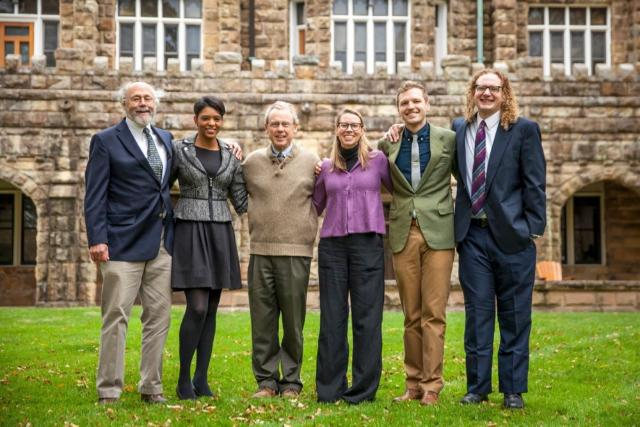 The Office of Civic Engagement team includes (from left to right): Director of Civic Engagement Jim Peterman, Senior Associate Director Nicky Hamilton, C'99, Associate Director Dixon Myers, Assistant Director Robin Hille Michaels, Office Coordinator Kai Koopman, and Programming Coordinator Tyler Augst.