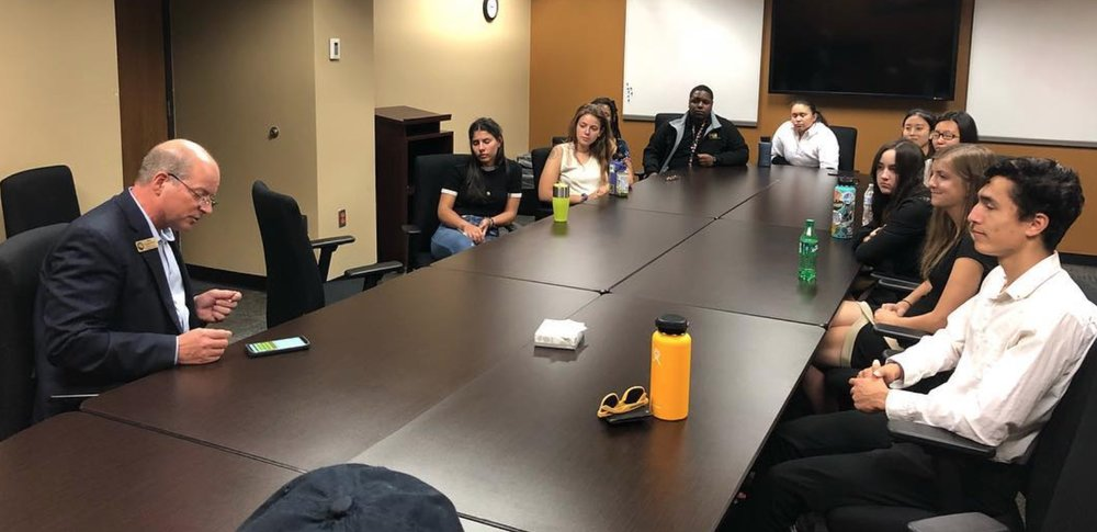 As part of their orientation, Bonners and other Community Engaged Fellows met with Colorado Springs Mayor John Suthers along with El Paso County Commissioner Stan Vanderwurf to learn more about this place they will call home for the next four years.