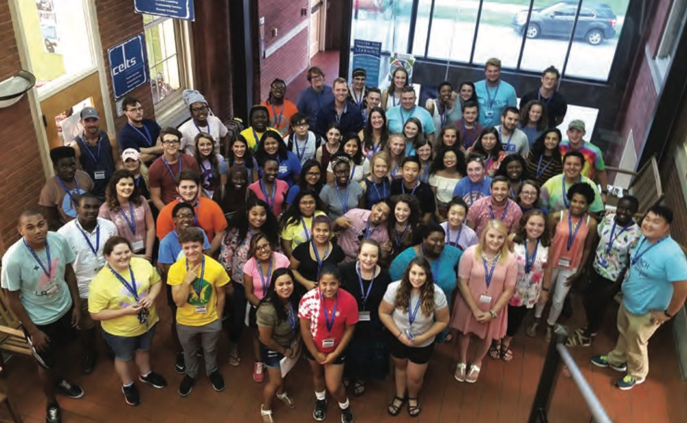 In a given year, CELTS employs approximately 70 students in primary labor positions. Here the student labor staff for the 2017-18 academic year gathered outside the CELTS of ce space in the Stephenson Building.